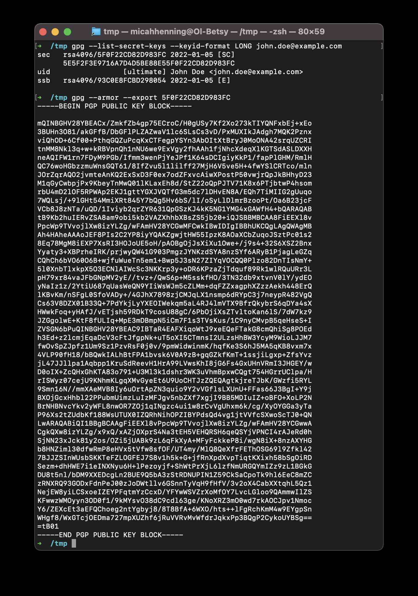 GPG key export